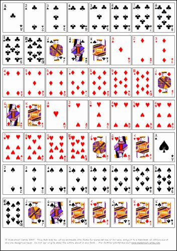 Deck Of Cards Template Awesome 7 Best Of Playing Card Printable Templates