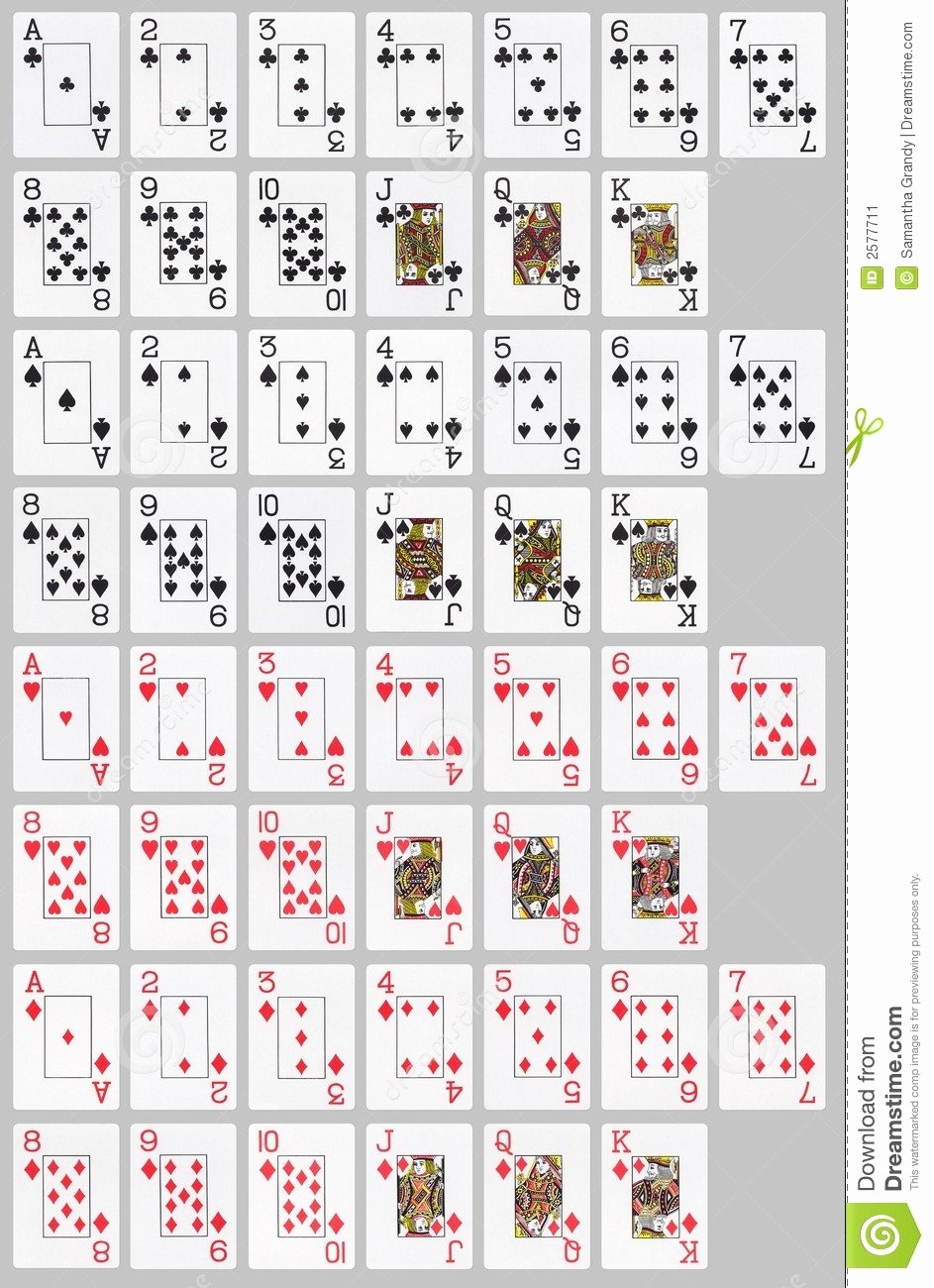 Deck Of Cards Template Best Of 7 Best Of Deck 52 Printable Cards Standard