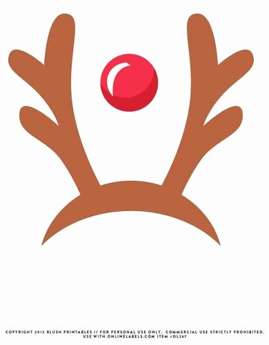 Deer Antler Printable Template Lovely Reindeer Antlers & Red Nose Printable Booth Prop