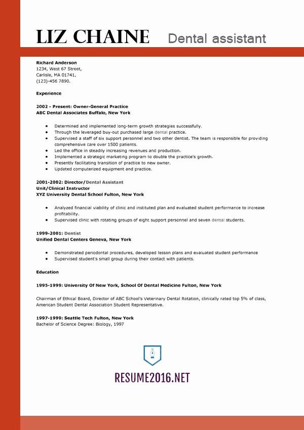 Dental assistant Resume Template Best Of Resume Samples 2016 Archives • Resume 2016