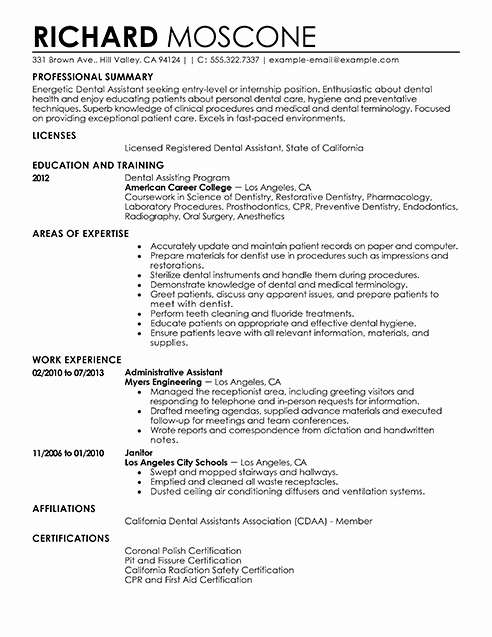 Dental assistant Resume Template Elegant Resume Resources