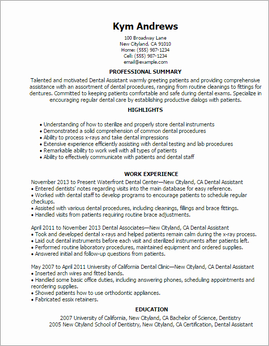Dental assistant Resume Template Fresh Professional Dental assistant Templates to Showcase Your