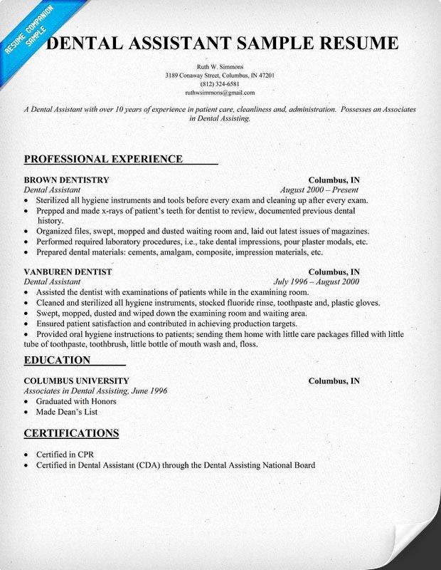 Dental assistant Resume Template New Dental assistant Resume Dentist Health Resume Panion