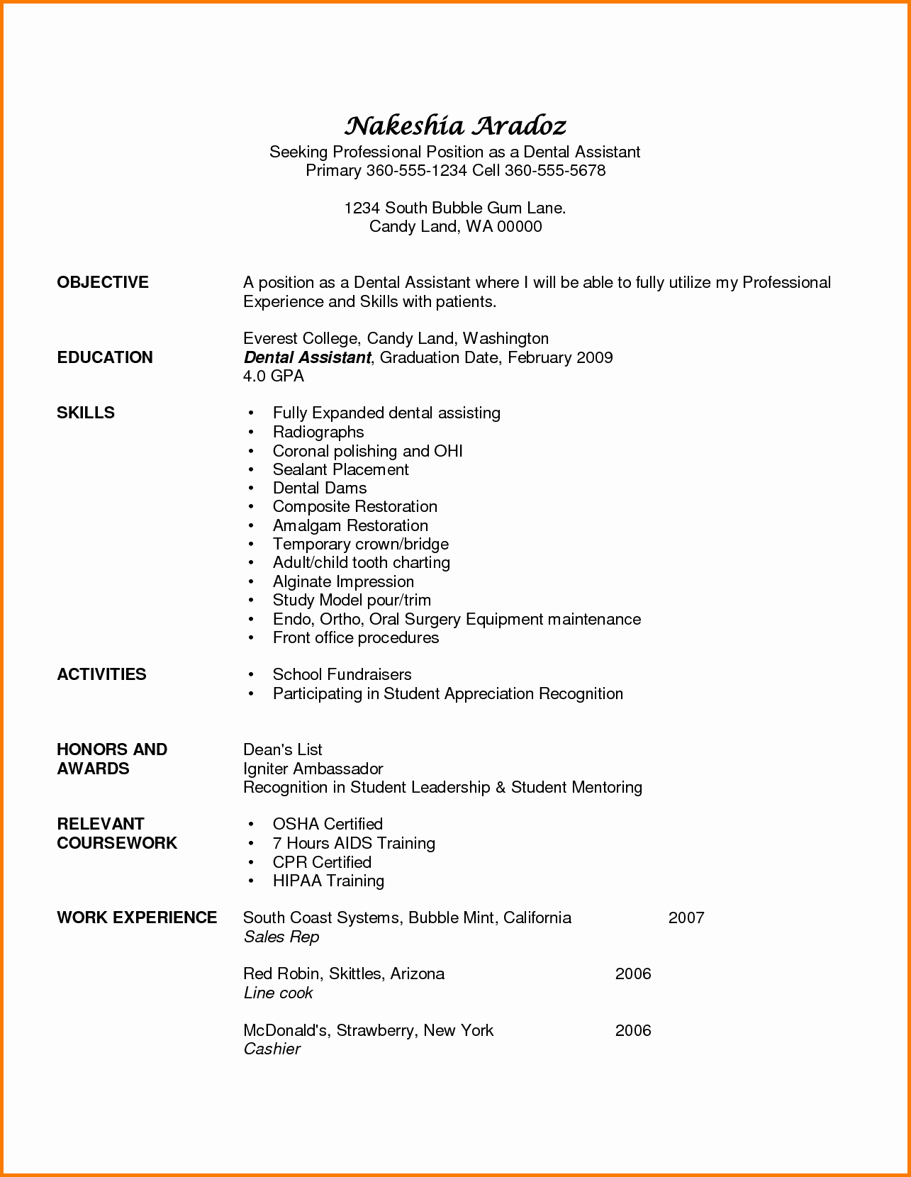 Dental assistant Resumes Template Awesome 6 Experience Dental assistant Resume