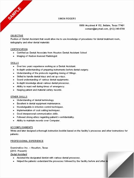 Dental assistant Resumes Template Best Of Dental assistant Resume Sample Limeresumes
