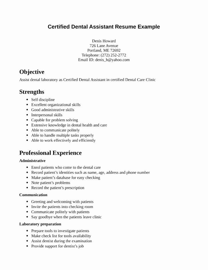 Dental assistant Resumes Template Best Of Functional Dental assistant Resume Template