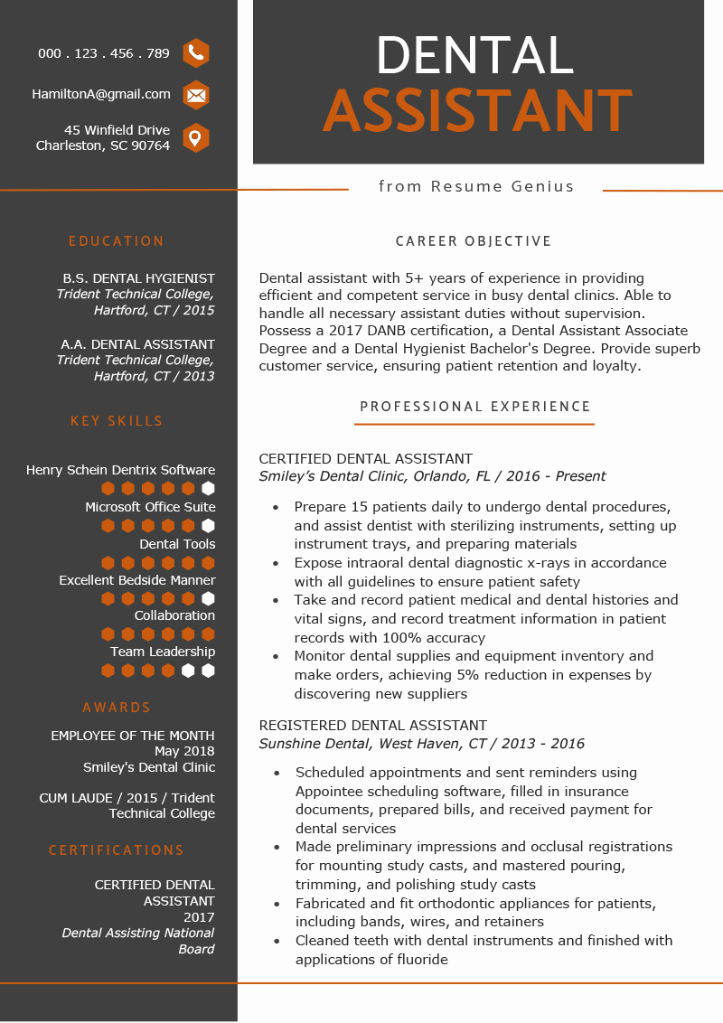 Dental assistant Resumes Template Elegant Dental assistant Resume Sample & Tips