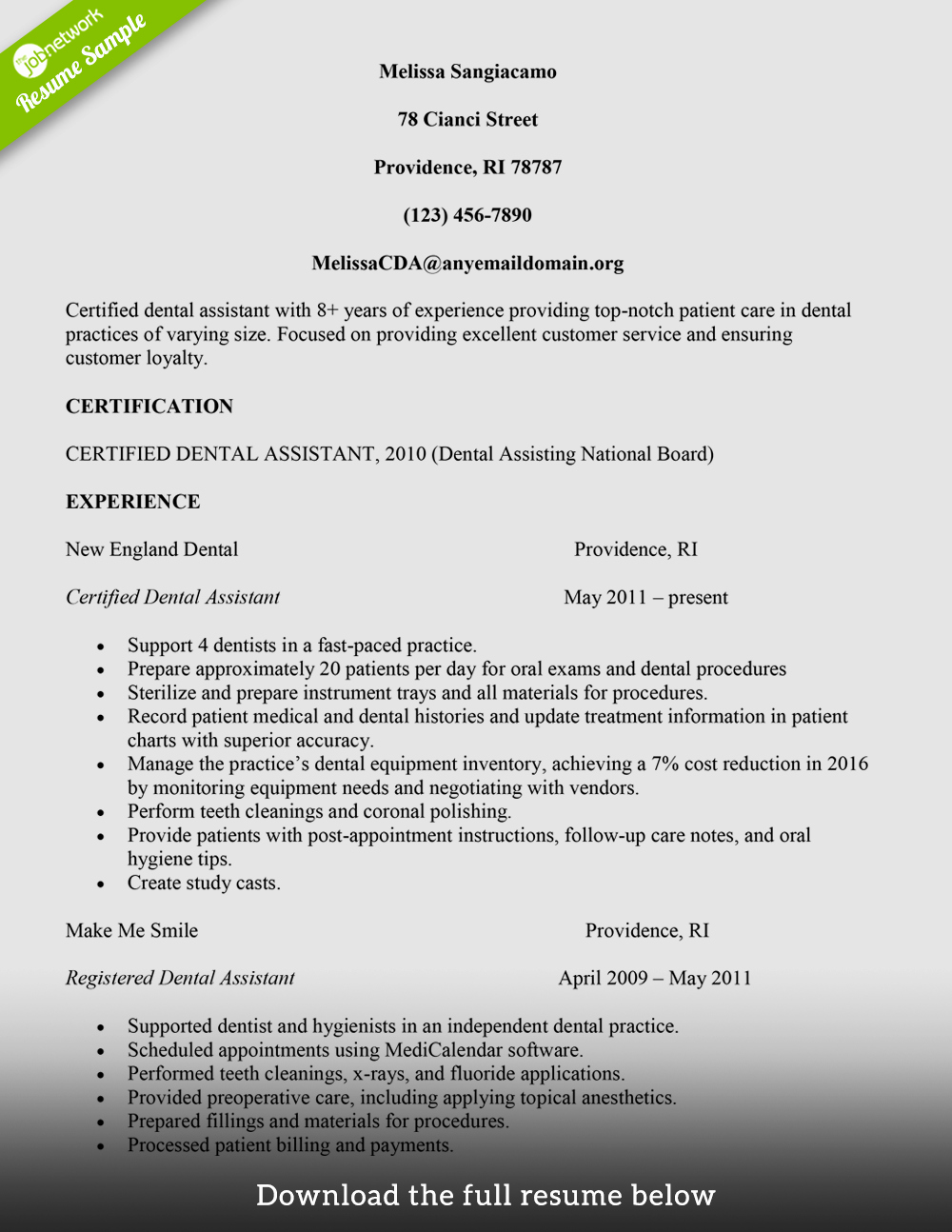 Dental assistant Resumes Template Fresh How to Build A Great Dental assistant Resume Examples