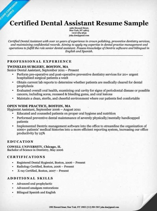 Dental assistant Resumes Template Lovely Dental Resume Examples & Writing Tips