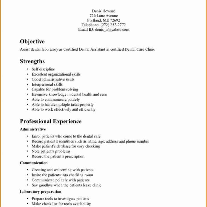 Dental assistant Resumes Template New Resume and Template 50 Marvelous Dental assistant Resume