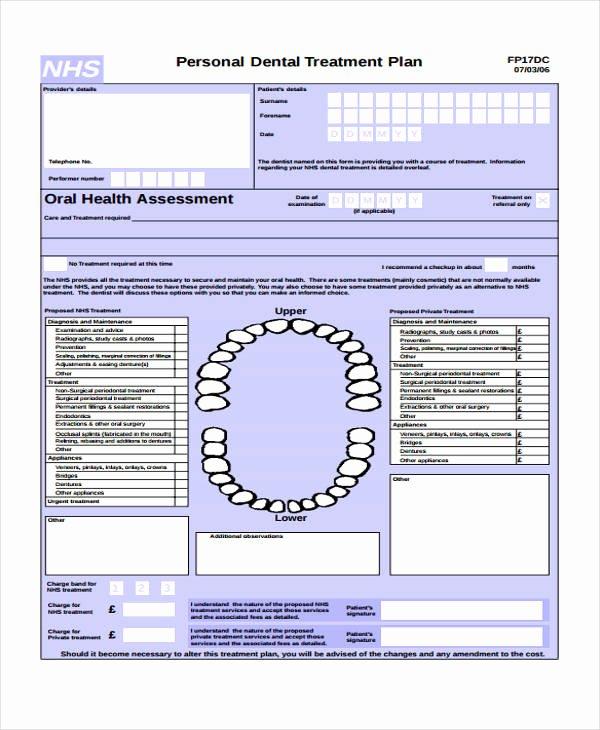Dental Treatment Plan Template Luxury 29 Free Treatment Plan Templates
