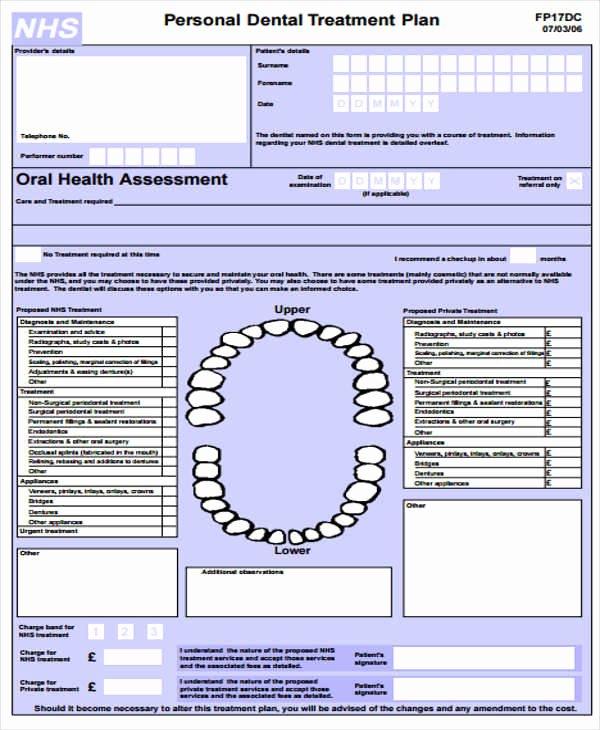 Dental Treatment Plan Template New 8 Treatment Plan Samples & Templates