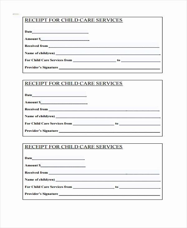 Dependent Care Receipt Template Fresh Receipt form In Pdf