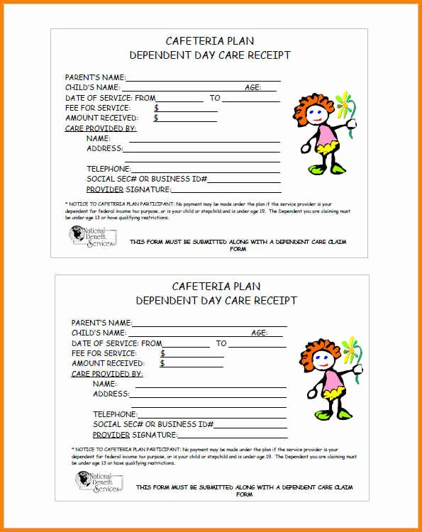 13 child care receipt template