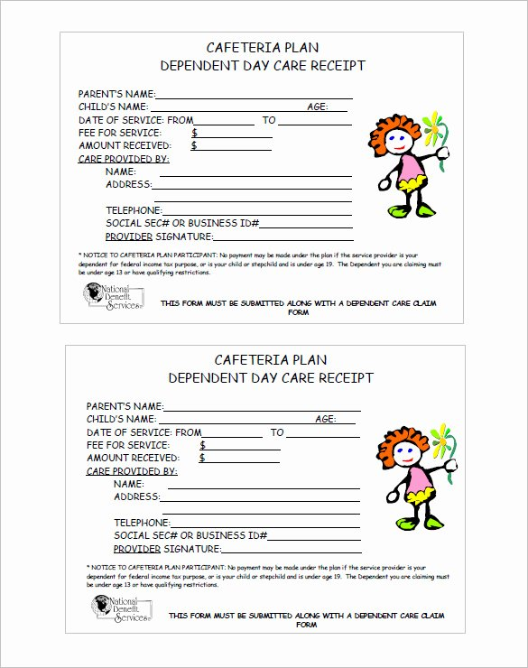 Dependent Care Receipt Template Lovely 20 Daycare Receipt Templates Doc Pdf
