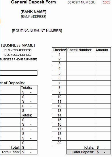 Deposit Slip Template Excel Awesome Deposit form Template