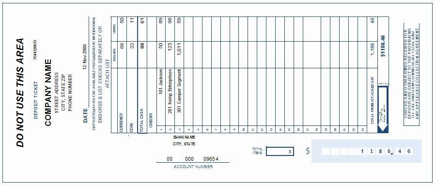 Deposit Slip Template Excel Awesome Free Printable Deposit Slip Template