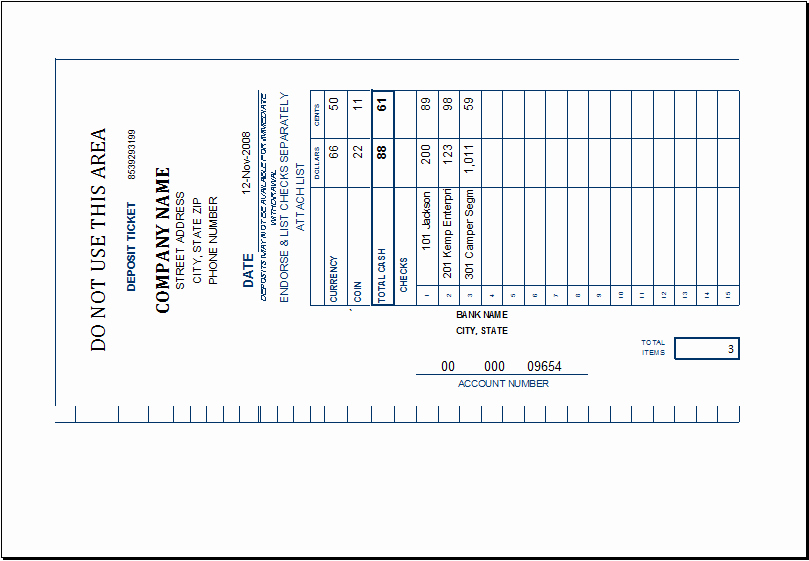 Deposit Slip Template Excel Inspirational Excel Editable & Printable Deposit Tickets Templates