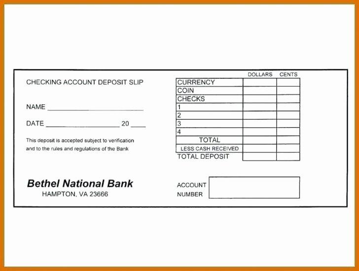 Deposit Slip Template Word Fresh Checking Deposit Slip Template Free Template Design