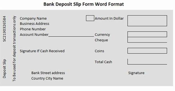 Deposit Slip Template Word New Bank Deposit Slip form Word format