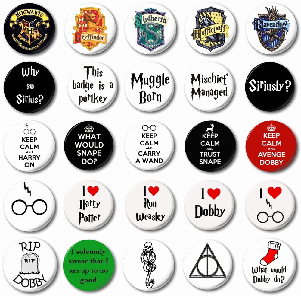 "Design A button Template Best Of Harry Potter Various Designs 1"" 25mm button Badge"