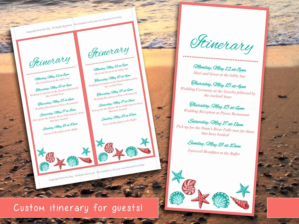 Destination Wedding Itinerary Template Beautiful Beach Wedding Itinerary Template Wedding Planner Coral