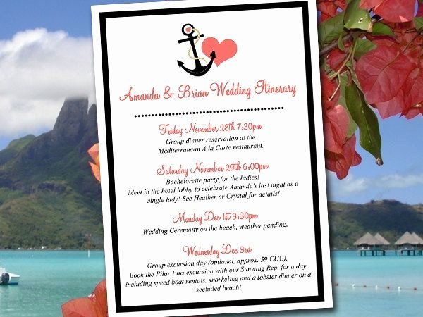 "Destination Wedding Itinerary Template Best Of Beach Wedding Itinerary Template Wedding Planner ""anchor"