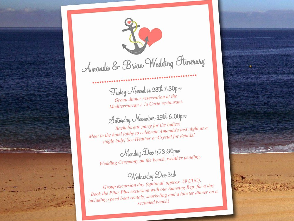 Destination Wedding Itinerary Template Inspirational Destination Wedding Itinerary Template