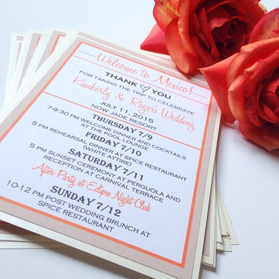 Destination Wedding Itinerary Template Inspirational Destination Wedding Wel E Bag Note Wel E Cards for