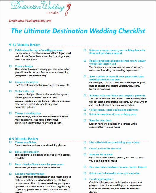 Destination Wedding Itinerary Template Lovely Checklist for Destination Wedding