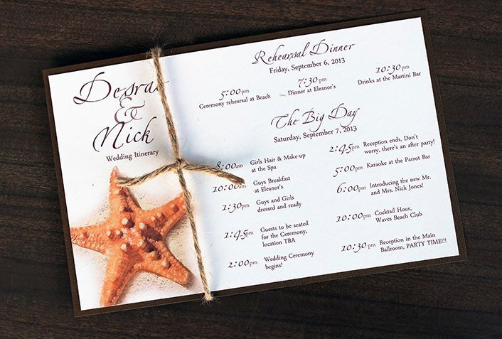Destination Wedding Itinerary Template Lovely Starfish Tropical Destination Beach Wedding by