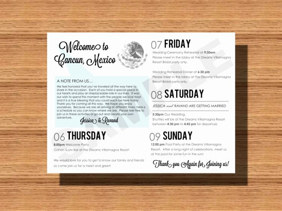 Destination Wedding Itinerary Template Unique Mexico Destination Wedding Wel E Bag Weekend Itinerary