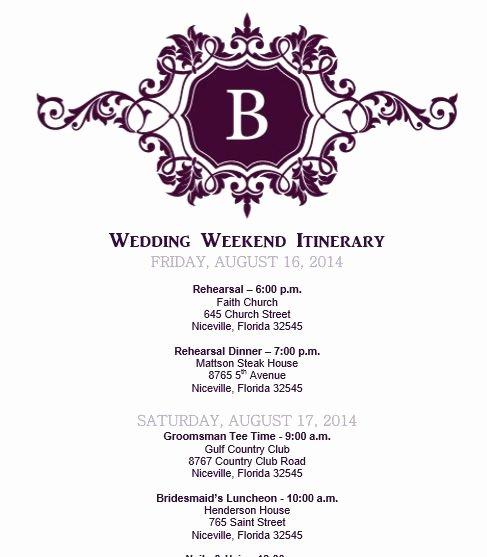 Destination Wedding Itinerary Template Unique Wedding Itinerary Wedding Itinerary Template Bridetodo