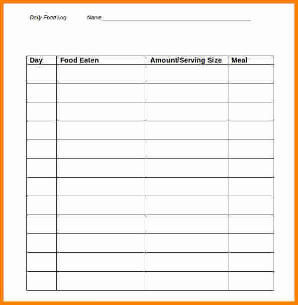 Diabetic Food Journal Template Awesome 10 Food Log Template