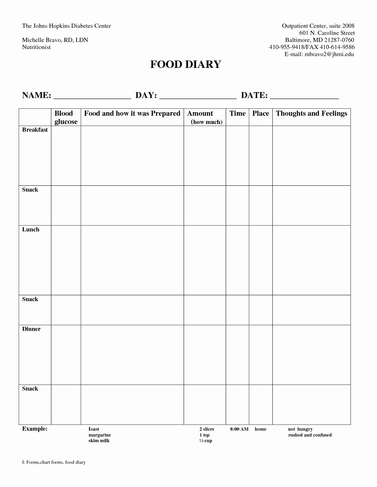 Diabetic Food Journal Template Luxury 7 Best Of 7 Day Diabetic Food Log Printable