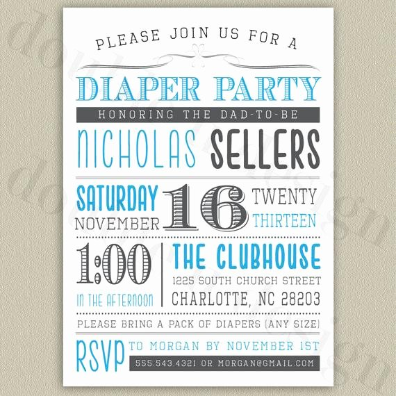 Diaper Party Invitation Template Elegant Diaper Party Printable Invitation with Color by Doubleudesign