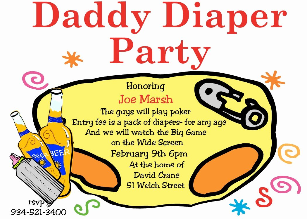 Diaper Party Invitation Template New Diaper Invitation Template