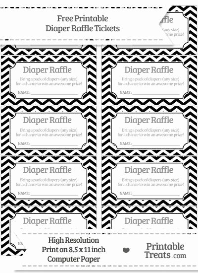 Diaper Raffle Template Free Beautiful Free Black Chevron Diaper Raffle Tickets