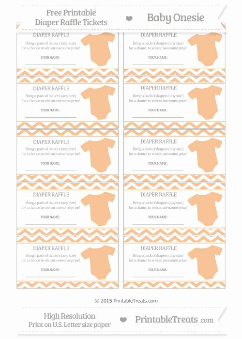 Diaper Raffle Template Free Elegant Free Pastel orange Chevron Baby Esie Diaper Raffle