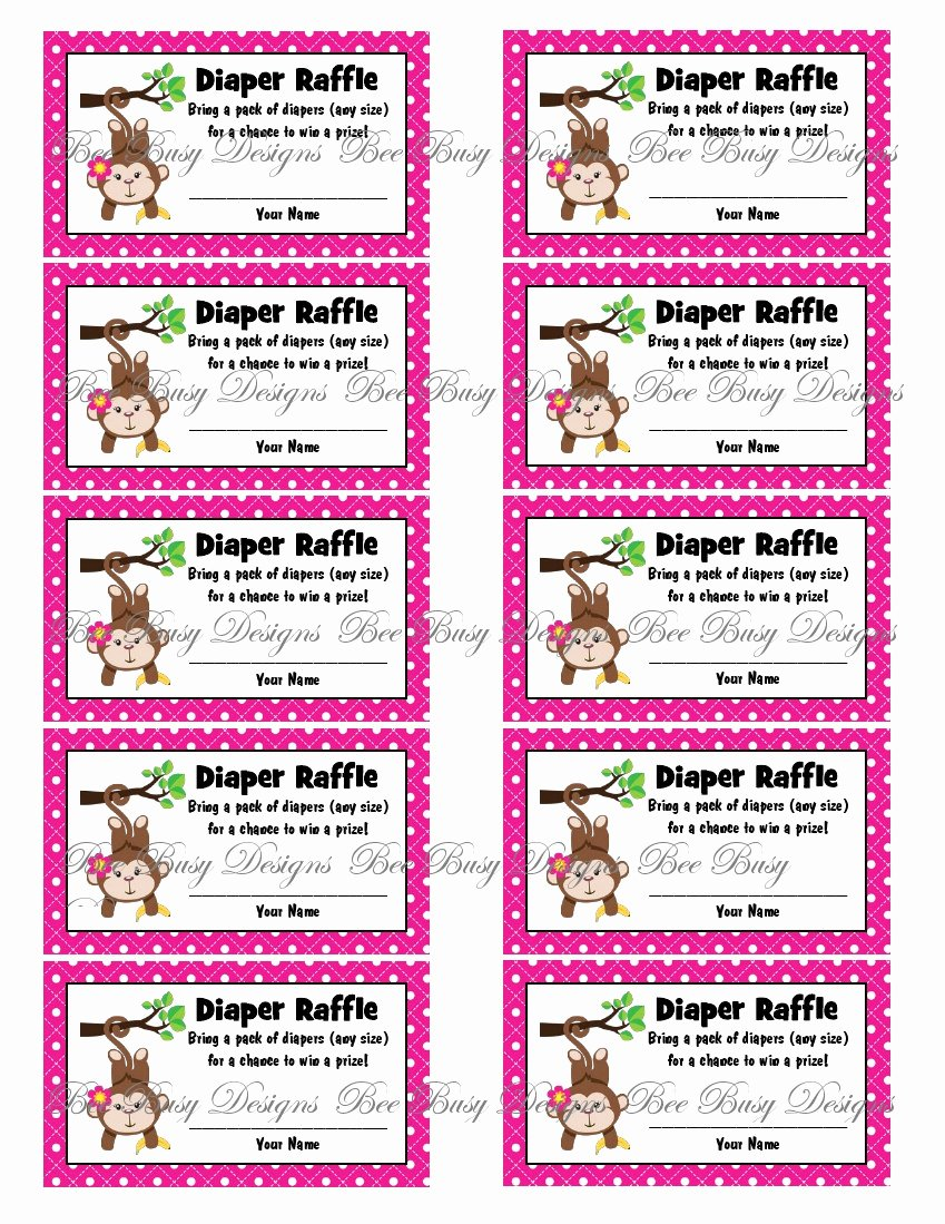 Diaper Raffle Template Free Fresh Printable Pink Girl Monkey Diaper Raffle Tickets