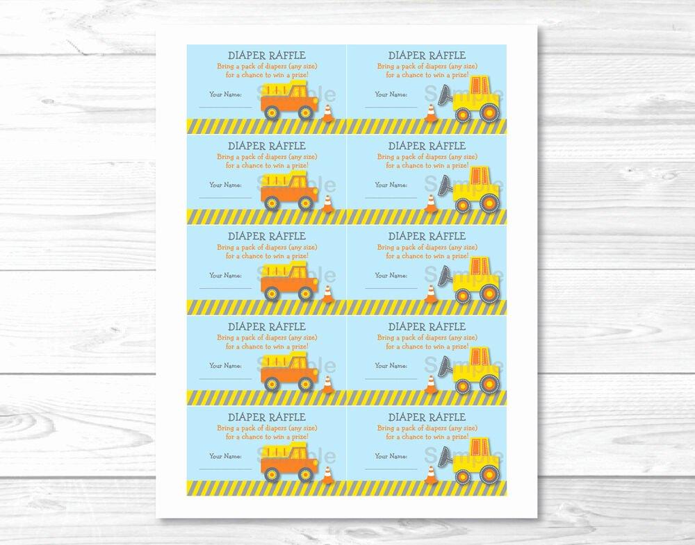 Diaper Raffle Template Free Inspirational Construction Trucks Printable Baby Shower Diaper Raffle