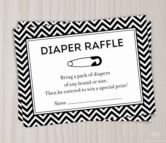 Diaper Raffle Ticket Template Elegant Chevron Diaper Raffle Ticket Black and White Baby Shower