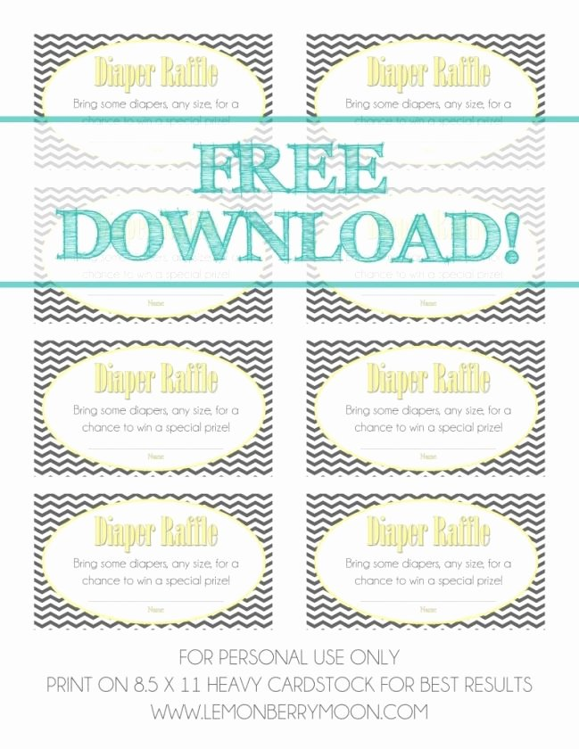 Diaper Raffle Ticket Template New Free Download Baby Shower Diaper Raffle Tickets