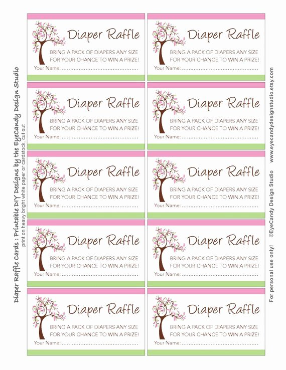 Diaper Raffle Tickets Template Awesome Items Similar to Printable Fancy Tree Garden Diaper Raffle