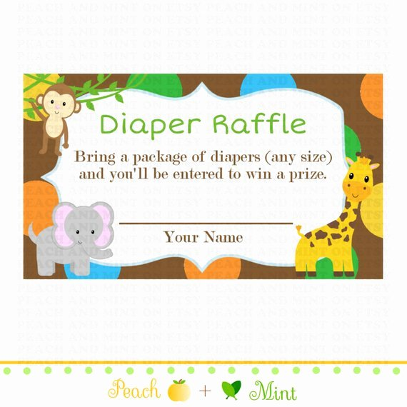 Diaper Raffle Tickets Template Awesome Printable Safari or Jungle Baby Shower Diaper Raffle Ticket