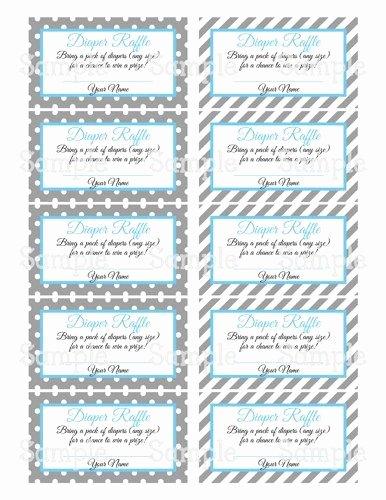 Diaper Raffle Tickets Template Elegant Printable Moustache Gray & Blue Baby Shower Diaper Raffle