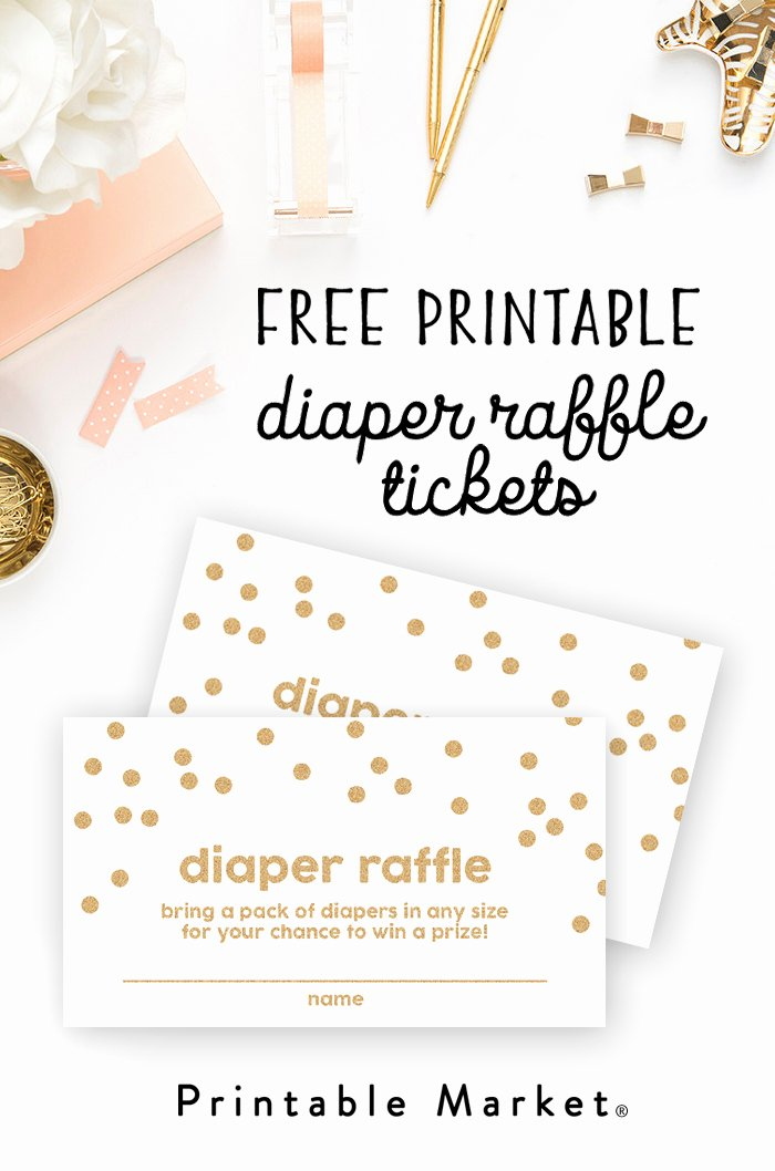 Diaper Raffle Tickets Template Lovely Free Baby Shower Printable Gold Glitter Diaper Raffle