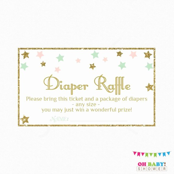 Diaper Raffle Tickets Template Luxury Diaper Raffle Ticket Pink Mint Gold Baby Shower Twinkle