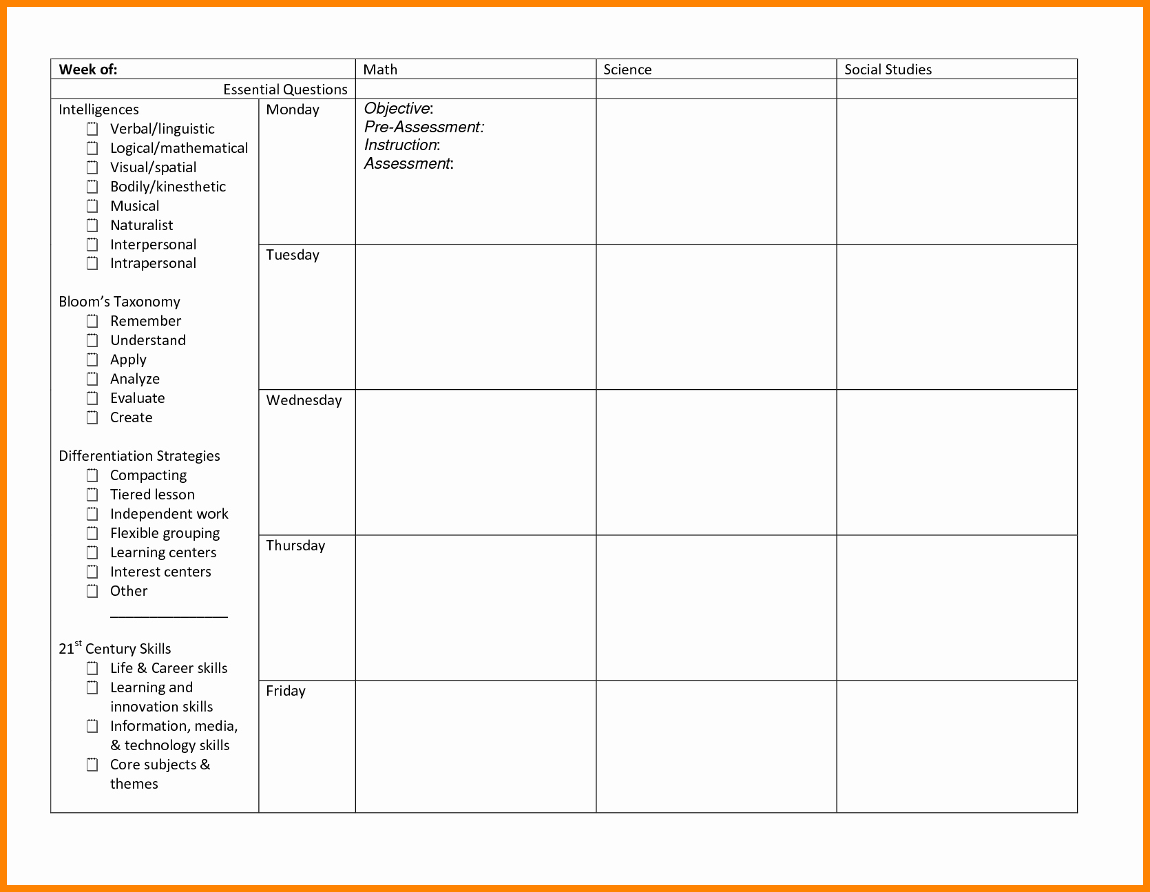 Differentiated Lesson Plan Template Beautiful 15 Differentiated Lesson Plan Template
