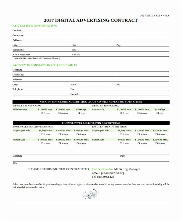 Digital Marketing Contract Template Awesome 9 Advertising Contract Templates Sample Examples